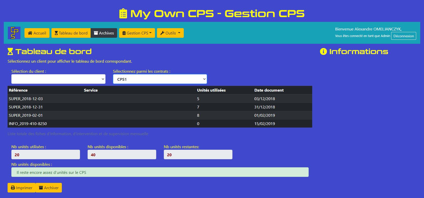 My Own CPS - Tableau de Bord