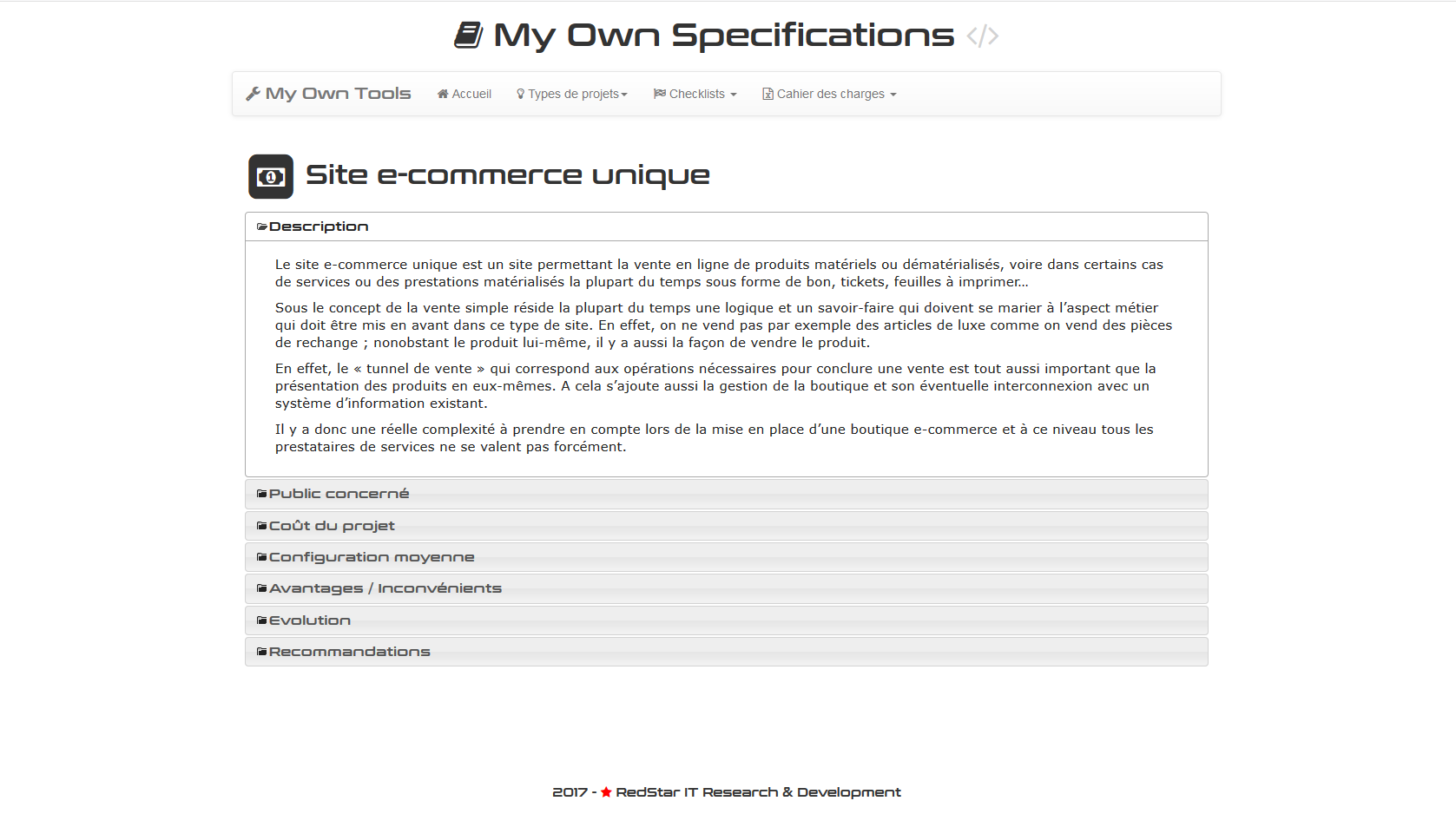 My Own Specifications #1
