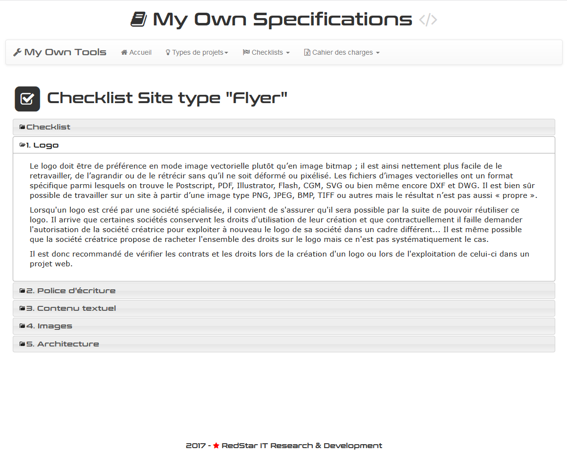 My Own Specifications #4